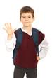 Schoolboy showing five fingers