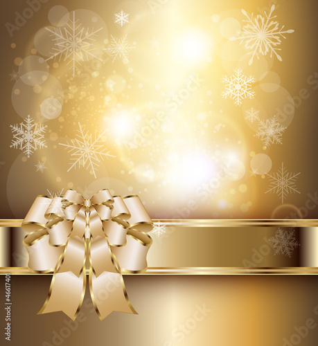 Abstract background with elegant gold banner and a bow