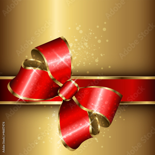 Abstract background gold with red elegant bow