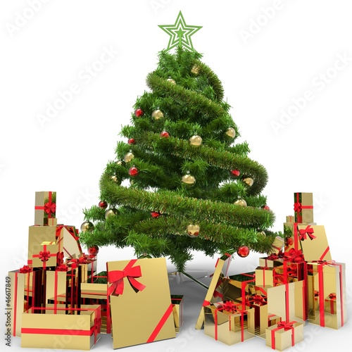Christmas Tree and Gifts. Over white background.4 © Soulline