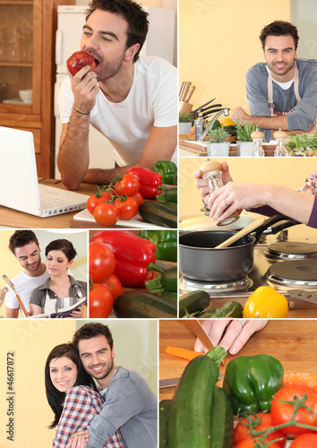 Montage of a couple cooking