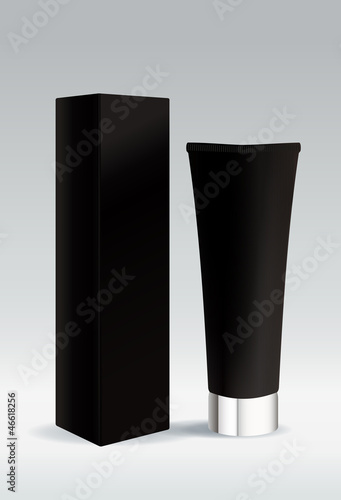 Cosmetic tube in black color for cream or gel