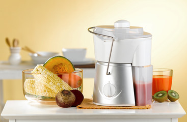 Makes variety fruits juice by blender machine in the kitchen