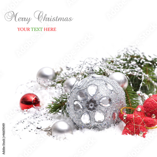 Christmas background with silver and red decoration