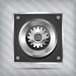 metallic icon with gear on knob on striped background