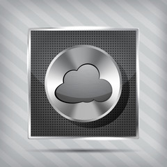 metallic icon with chrome volume knob and cloud on the striped b