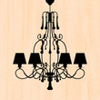 silhouette of luxury chandelier on a scratched peachy wallpaper