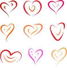 heart set love symbols vector