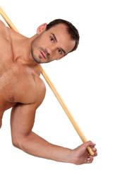 Oblique image of male athlete