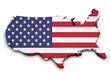 USA Flag Map Shape