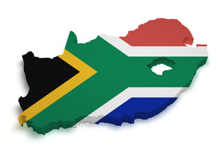 South Africa Map Flag Shape