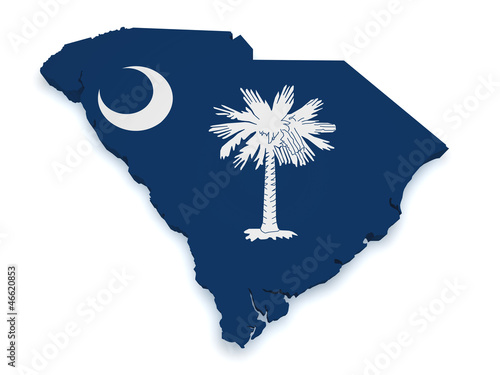South Carolina Map 3d Shape