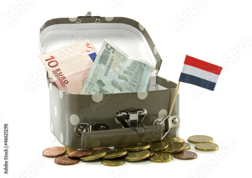 suitcase with dutch flags and money