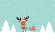 Xmas Rudolph Pulling Sleigh With Gift Retro