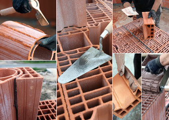 Montage of bricklayer at work