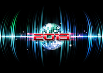 2013 party time - New Year's disco and event flyer template