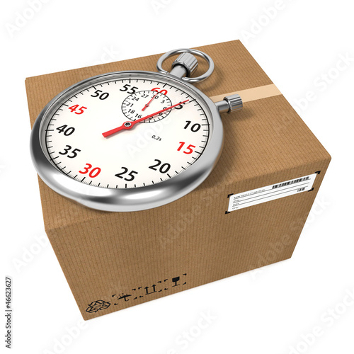 Stopwatch Over a Carton Boxes.
