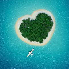 Wasserflugzeug landet vor Trauminsel in Herzform Karibik