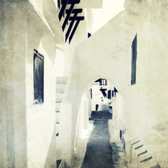 white washed passage