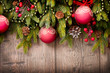 Christmas Over Wooden Background. Decorations over Wood
