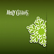 Merry Christmas Snowflakes paper green, vector