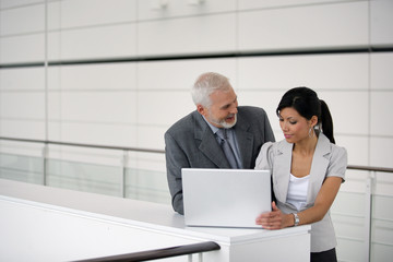 Businesspeople using a laptop