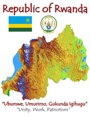 Rwanda Africa Asia national emblem map symbol motto