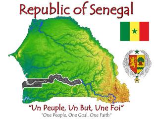 Senegal Africa national emblem map symbol motto