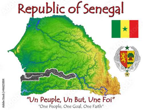Senegal Africa national emblem map symbol motto