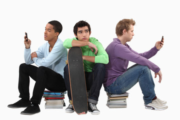 Students with books and a skateboard