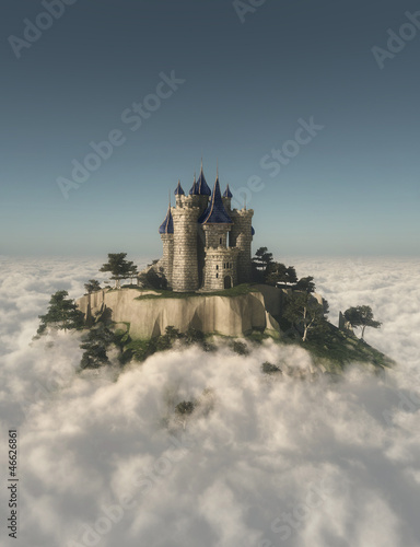 Castle on the mountain in the clouds - 46626861