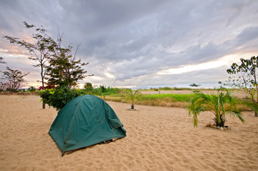 Tent on the Beach with dramatic sky
