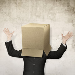 businessman hide in box
