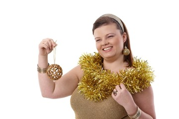 Happy plump woman at christmas time