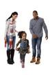 Little afro girl running parents watching