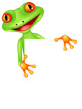 Funny frog cartoon with blank sign