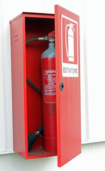 fire extinguisher to put out the fires in the box on the wall