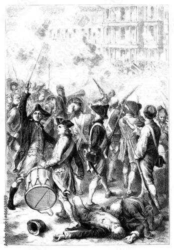 French Revolution : Riot Scene - Emeute - 18th century