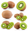 Set of kiwi fruits with slices isolated on white