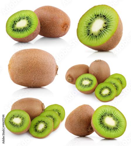 Set of kiwi fruits with slices isolated on white
