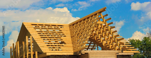 Wooden roof frame outside view