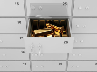 Opened Deposit Bank Safe with Golden Bars Inside