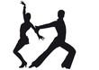 Silhouette of dancers Latin-American dances
