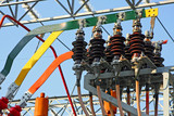 switches and insulators of a transformer in power plant