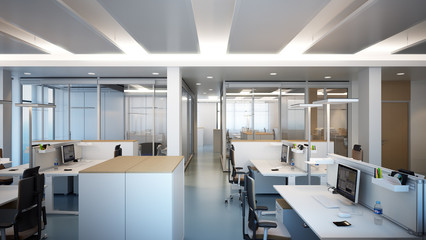 modernes Büro - modern office with glas partition