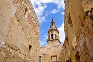 Palace in ruins and church, Salinillas de Buradon, (Spain)