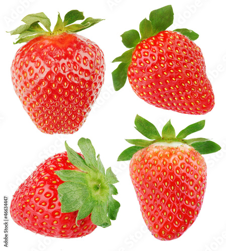 Set of strawberry fruits isolated on white background