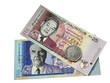 Две банкноты и монета Маврикия.