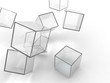 Abstract transparent glass cubes on a white background