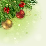 Fototapety Christmas background with pine branch